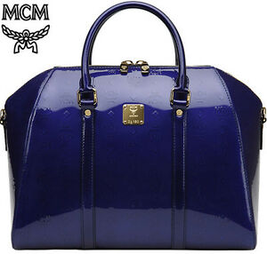 ... MCM Large Bowler Bag Ivana Patent Leahter Shoulder Handbag Royal Blue