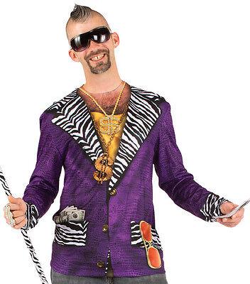 BIG PIMPIN T-Shirt Pimp Suit Longsleeve Allover Print Costume Tee S-2XL