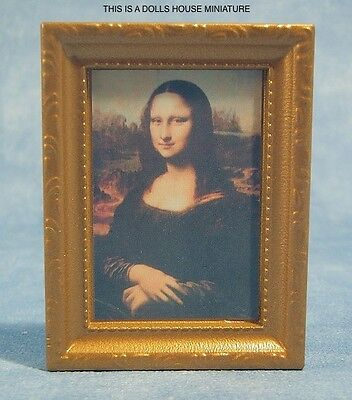 Framed Picture of the Mona Lisa, Dolls House Miniature 1:12th Scale