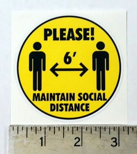 """Social Distance Distancing Pandemic graphic sticker decal 3"""" diameter"""