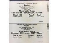 2 x Drake Boy Meets World Tour tickets, Manchester Saturday 11th Feb, Block 104, Row A
