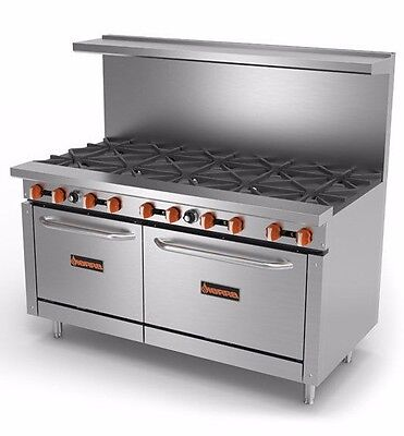 New 60 Gas Commercial Range 10 Open Burners 2 Ovens Sierra Sr-10-60