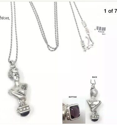 Brighton LONG LADY ROSE STATUE CABOCHON NECKLACE NWTs Silver Purple $78 NWT NEW