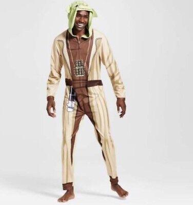 Disney Star Wars Yoda Union Suit Hooded Jumpsuit Pajamas Cosplay Costume S M L](Yoda Costume)