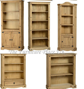 Solid-Distressed-Waxed-Pine-3-4-5-Shelf-Bookcase-Display-Corner-Unit
