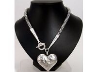 NEW Ladies Jewellery Statement Large beaten metal heart with T.bar on rounded chain