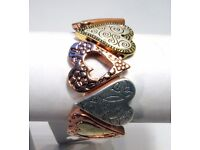 NEW Ladies Jewellery Copper, Gold and Silver Coloured Hearts Bracelet