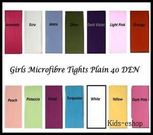 Girls-TIGHTS-PLAIN-Opaque-Microfibre-40-DEN-Size-6-M-13-Y