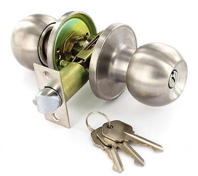Keyed Lock-set (Chrome Door Knob Set Keyed Entrance Mortice Push Button Lock Set Door Handle)
