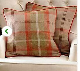Rust Highland Check piped cushion covers