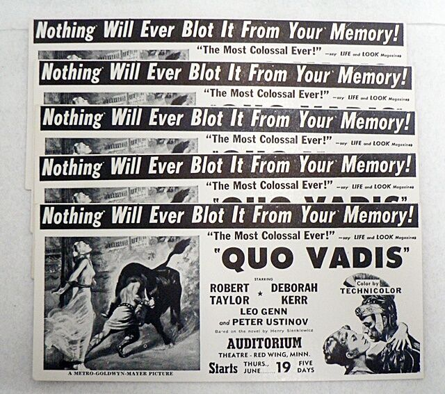 LOT OF 5 VINTAGE UNUSED INK BLOTTERS ADVERTISING THE MOVIE QUO VADIS