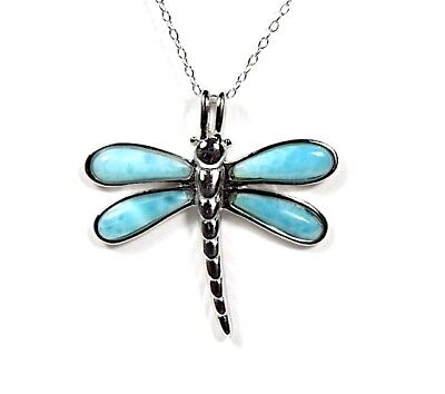 Genuine AAA Inlay Larimar 925 Sterling Silver Dragonfly Pendant Necklace 18'' ()