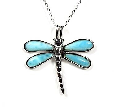 Genuine AAA Inlay Larimar 925 Sterling Silver Dragonfly Pendant Necklace 18
