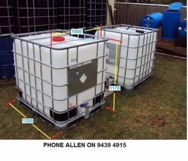 Water tank 1,000 Litre IBC ok for Aquaponics & 200 litre, 44 Gall