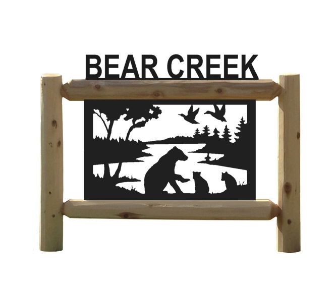PERSONALIZED RUSTIC LOG BEAR SIGN