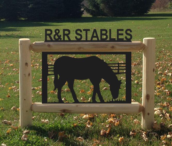 HORSE CEDAR LOG SIGN - HORSES - EQUESTRIAN SIGNS - SADDLES - RODEO