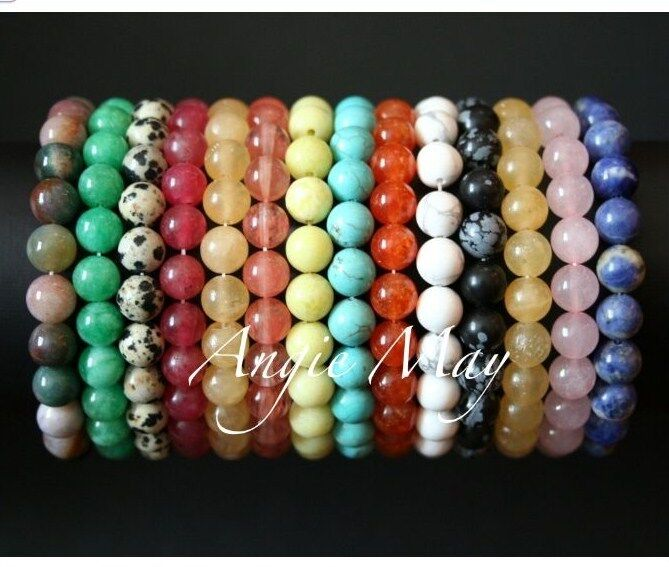 Big Wholesale Lot 100 Round GEMSTONE Crystal Healing 7 Inches Stretch Bracelets