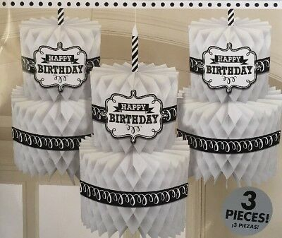 Happy Birthday Chalkboard Honeycomb Cakes Hanging Decoration (Pack of 3) 291671](Chalkboard Happy Birthday)