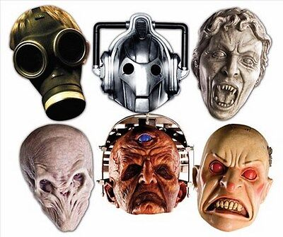 Dr Who Monsters Party Six Pack Fun CARD Face Masks includes Davros Weeping Angel - Dr Who Party Supplies