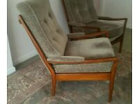 1950s Mid century pair of upholstered arm chairs