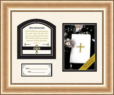 1st First Communion Framed & Matted picture frame with numbers 6:24 verse 12