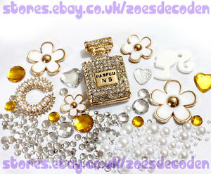 DIY cell phone case bling gold white flower metal cabochon decoden deco kit
