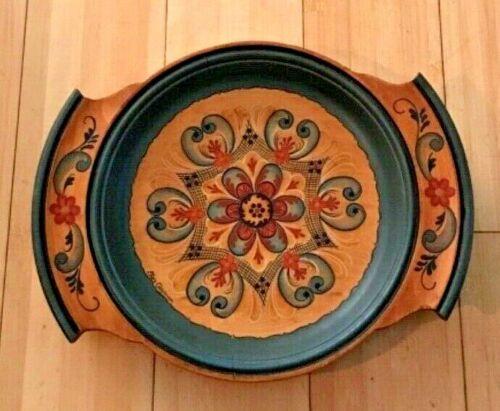Swedish Handled Wood Bread Dish Ellen Clayman Painted Tole Signed