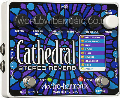 EHX Electro Harmonix Cathedral Stereo Reverb Guitar Effects Pedal