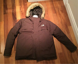 Men's North Face brown winter jacket parka size XL