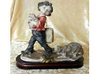 """Giuseppe Armani """"BOY CARRYING PUPPIES BEING CHASED BY DOG"""" --- Vintage"""