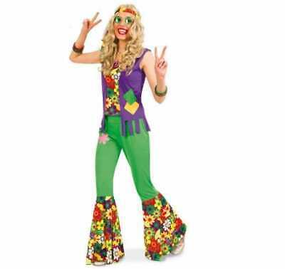 Damenkostüm-Set Hippie, 7-teilig, 60er Jahre, Blumenkind, FlowerPower, 12989813F