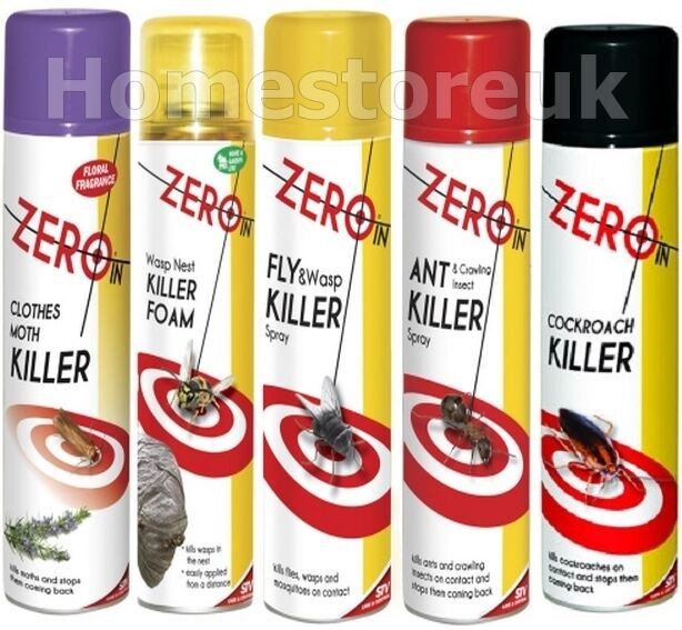 ZERO IN INSECT KILLER SPRAY BOTTLE KILLS FLY WASP MOSQUITO MOTH ANT PEST CONTROL