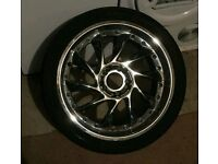 18 inch 5X112 Chrome Turbine wheels X5 multifit with good tyres MERCEDES AUDI VW SEAT etc