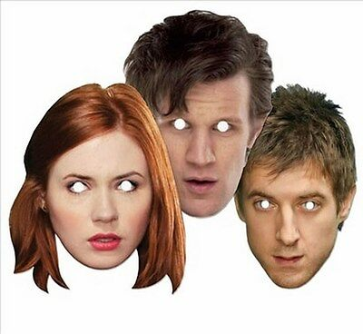 Doctor (Dr) Who Companions Party Three Pack Fun CARD Masks with Doctor Amy Rory - Dr Who Party Supplies