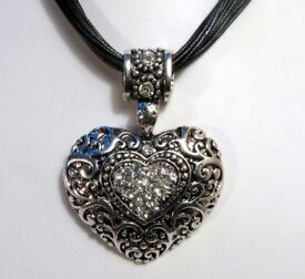 NEW Ladies Jewellery Heart Statement Pendant Necklace Ornate Crystal Black Cords