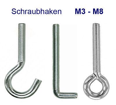 Schraube Haken (Schraubhaken Hakenschraube Öse Ringschraube L-Haken M3-M8 Gewinde metrisch verz.)