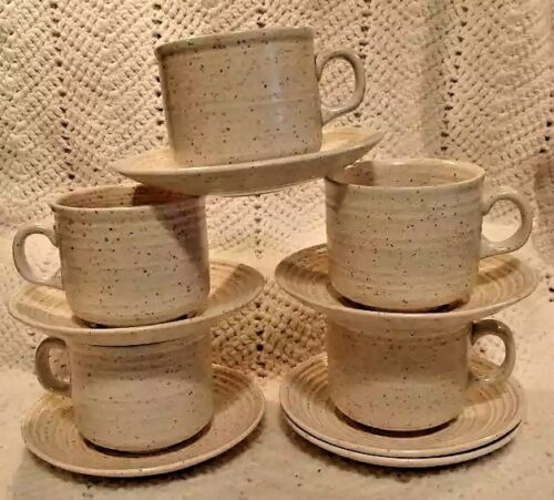 5 Speckled Churchill England Homespun Cups Saucers Stoke on Trent MCM