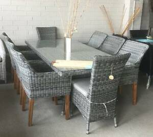 Elegant Outdoor Dining setting wicker chairs Hardwood Legs Round Bayswater Knox Area Preview