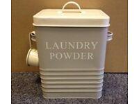 Cream Retro Laundry Powder Storage tin New