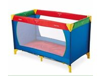 HAUK Dream & Play Travel Cot Red Blue Green Yellow with Mattress & Carry Bag