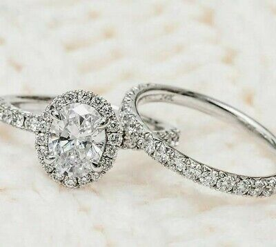 1.50 Ct. Halo Oval Cut Diamond Engagement Ring & Wedding Band G,VS2 GIA