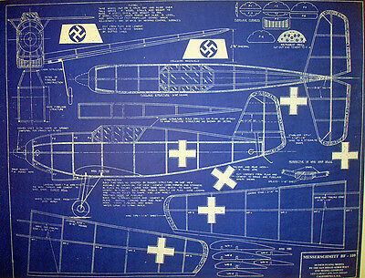 WW2 Messerschmitt BF-109 Vintage Flying Model Blueprint Plan 1944 22x28  (254)