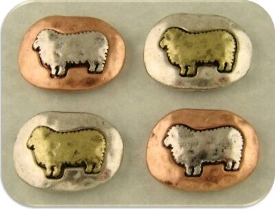 2 Hole Beads Sheep Lamb Ewe Squovals Barn Animal Fleece 3T Metal Sliders QTY 4