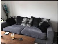 Grey Dfs 4 seat sofa and large cuddle chair