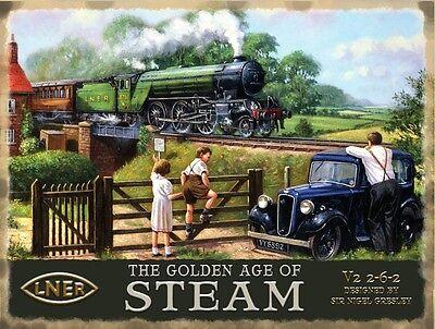 Golden Age Of Steam (LNER / Austin 7) large steel sign 400mm x 300mm  (og)