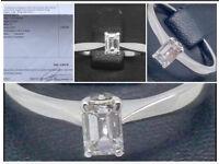 Beautiful Emerald Cut 18 Carat Gold Diamond Ring