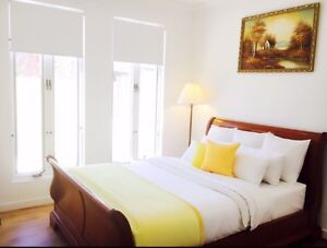 Wooden Queen size bed frame and floor lamp Magill Campbelltown Area Preview