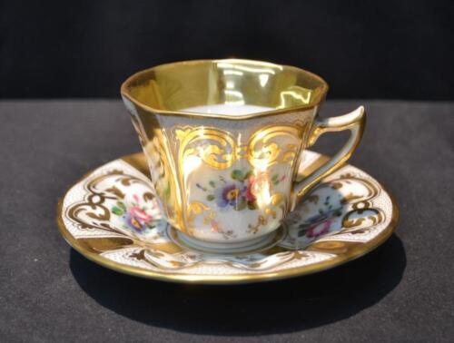 VINTAGE RARE KPM HAND PAINTED CUP & SAUCER FLORAL AND GOLD BLUE MARK 1900
