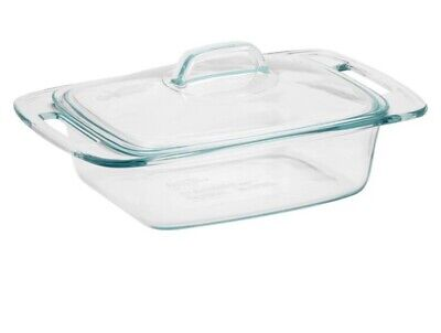 NEW PYREX Glass Casserole Dish with Lid Cover Oven Safe BPA Free Easy Grab 2 qt -