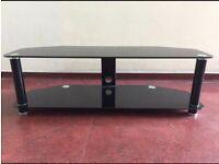 Black tv glass stand